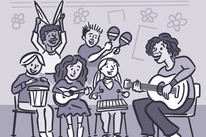 Illustration of kids playing music in a classroom.