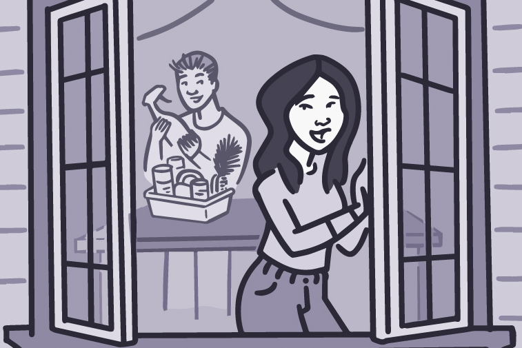 Illustration of a woman opening the window