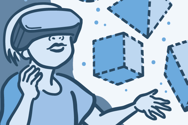 Illustration of a child using a virtual reality game to touch shapes