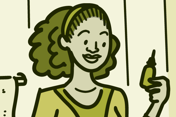 Illustration of a woman looking at a saline rinse bottle over the bathroom sink