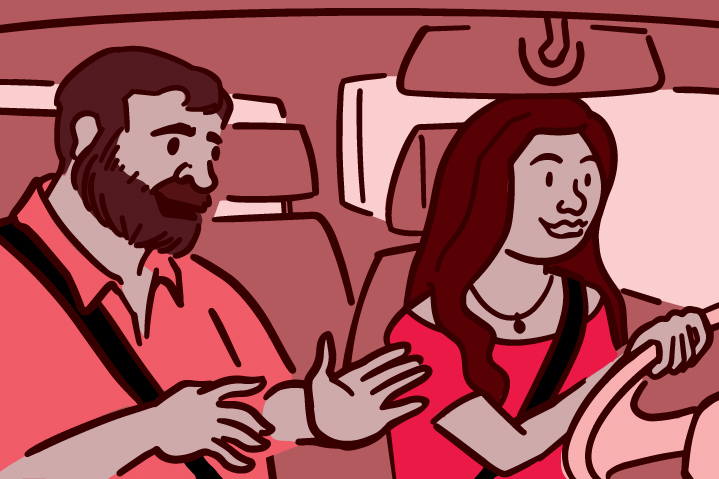 Illustration of the passenger in a car talking to the driver