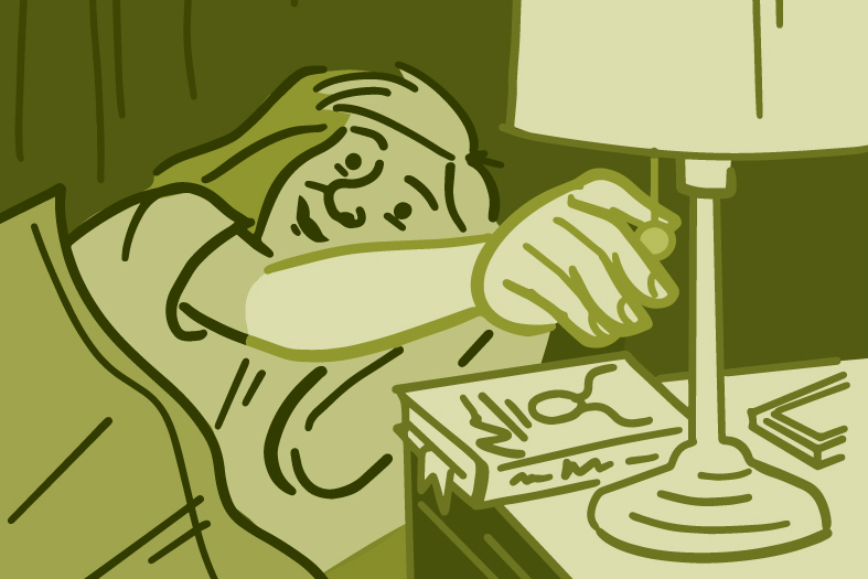 Illustration of man shutting off light and getting in bed
