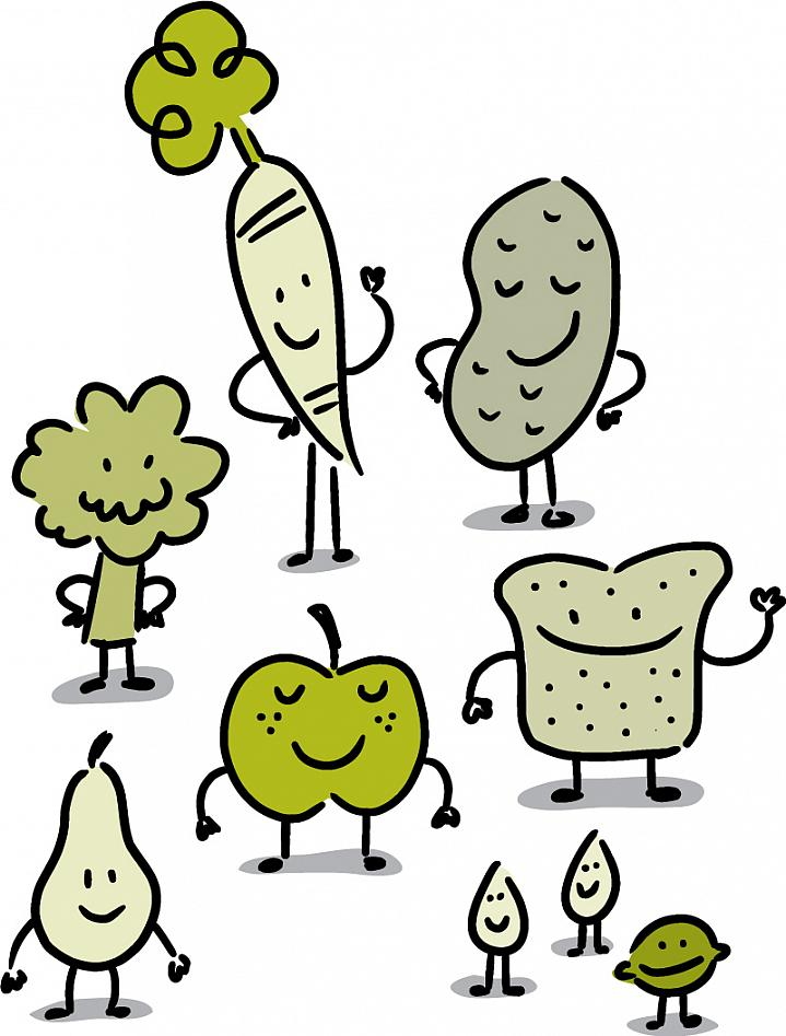 Illustration of anthropomorphized fruit, vegetables, bread, nuts and seeds.