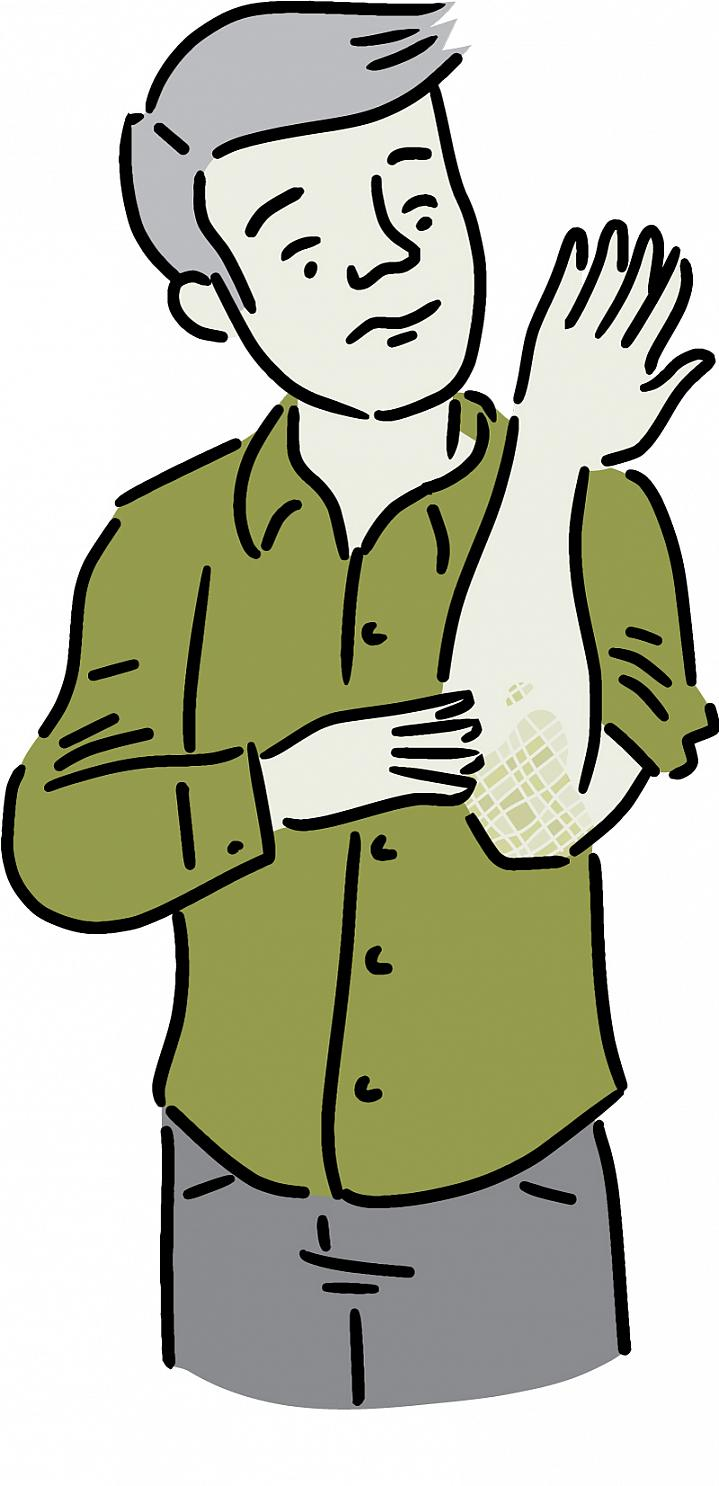 Illustration of a man noticing a scaly patch on his elbow.