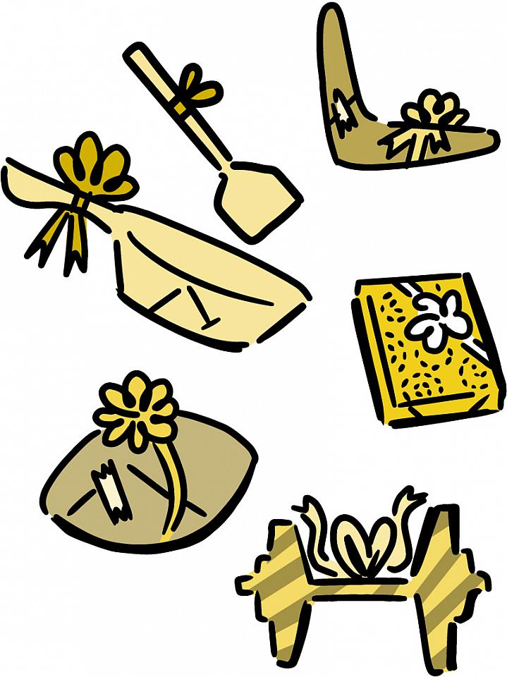 Illustration of wrapped healthy gifts.