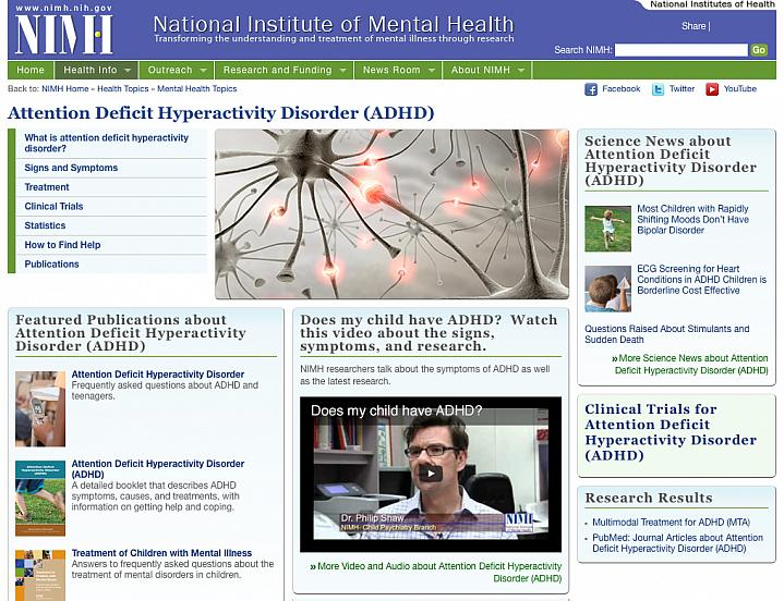 Screen capture of Attention Deficit Hyperactivity Disorder web site.