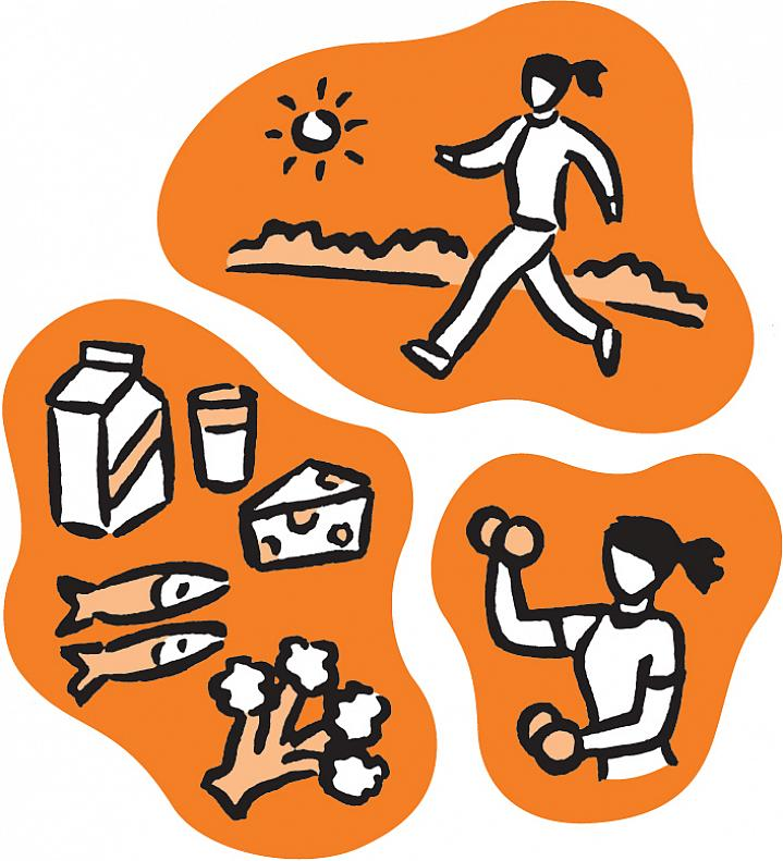 Illustration of woman walking in sunshine, calcium rich foods and a woman lifting weights.