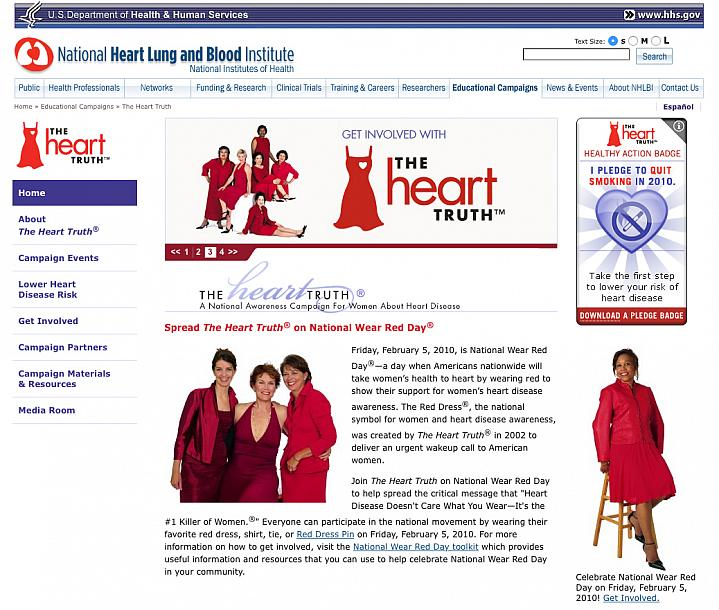 Screenshot of The Heart Truth web site.