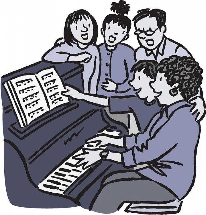 Illustration of a family singing around a piano.