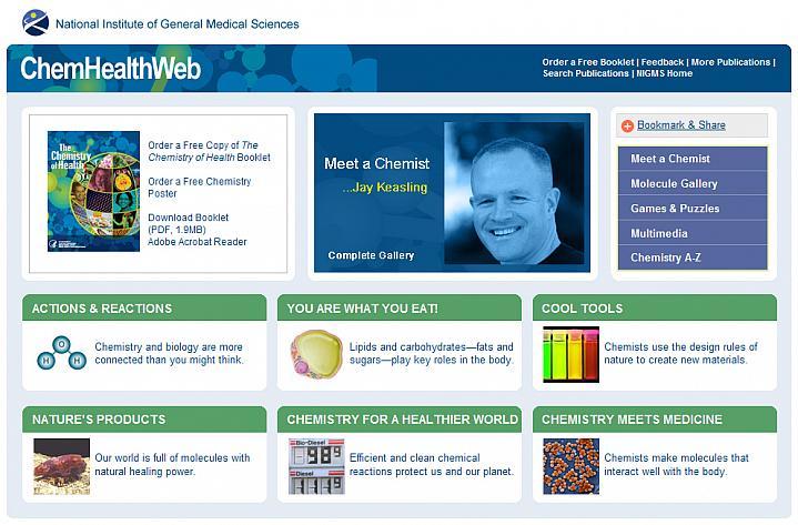 Screenshot of the ChemHealthWeb web site.