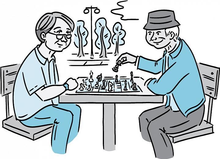 Illustration of two older men playing chess outdoors.