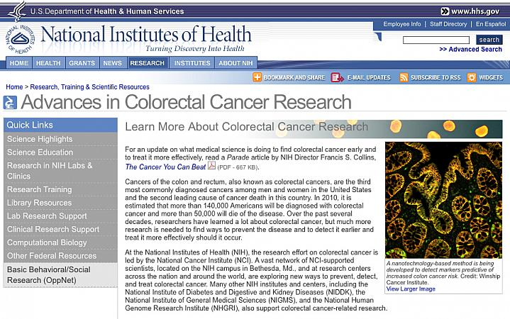 Screenshot of Advances in Colorectal Cancer Research web site.