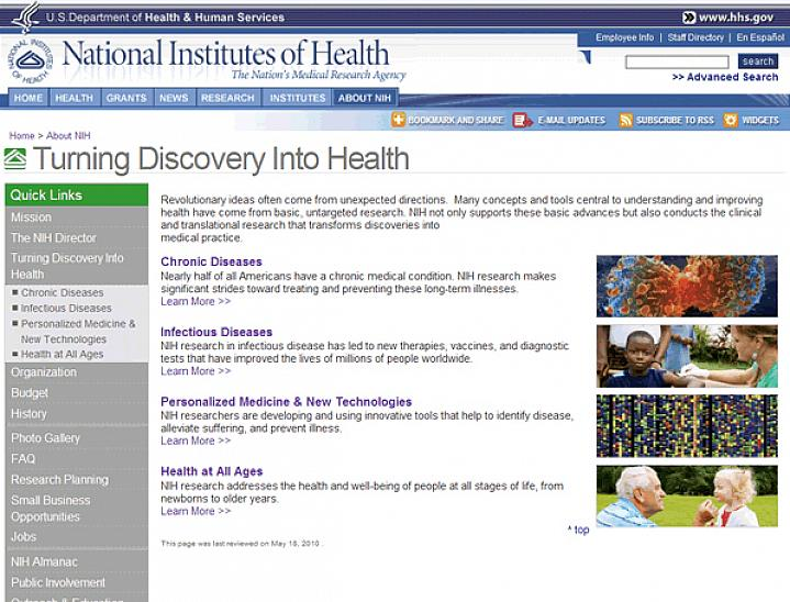 Screenshot of the Turning Discovery Into Health web site.