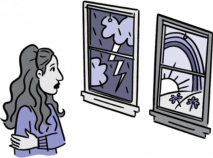 Illustration of woman looking at two windows, one with a violent storm and one with a sunny, peaceful scene.