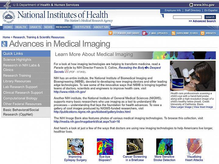 Screenshot of Advances in Medical Imaging web site.