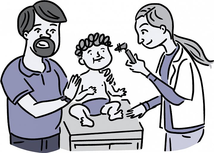 Illustration of a doctor examining a baby's ear with an otoscope.