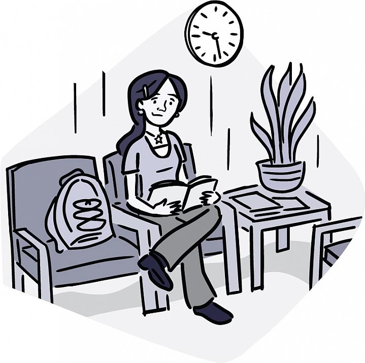 Illustration of a young woman alone in a waiting room.