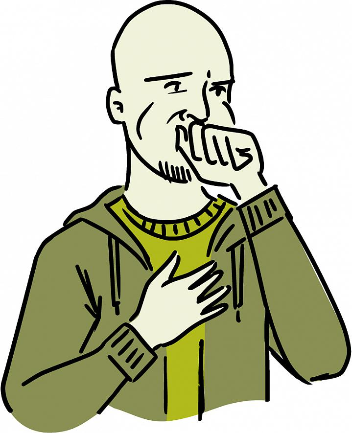 Illustration of an uncomfortable man covering his mouth.