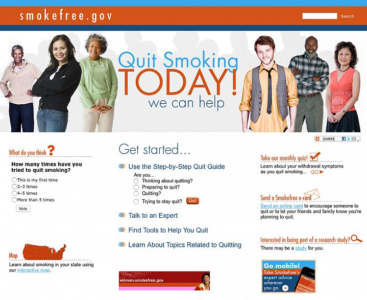 Screen capture of Smokefree.gov website.