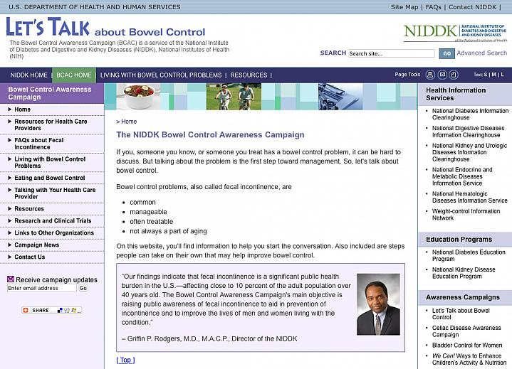 Screenshot of the Let's Talk About Bowel Control website.