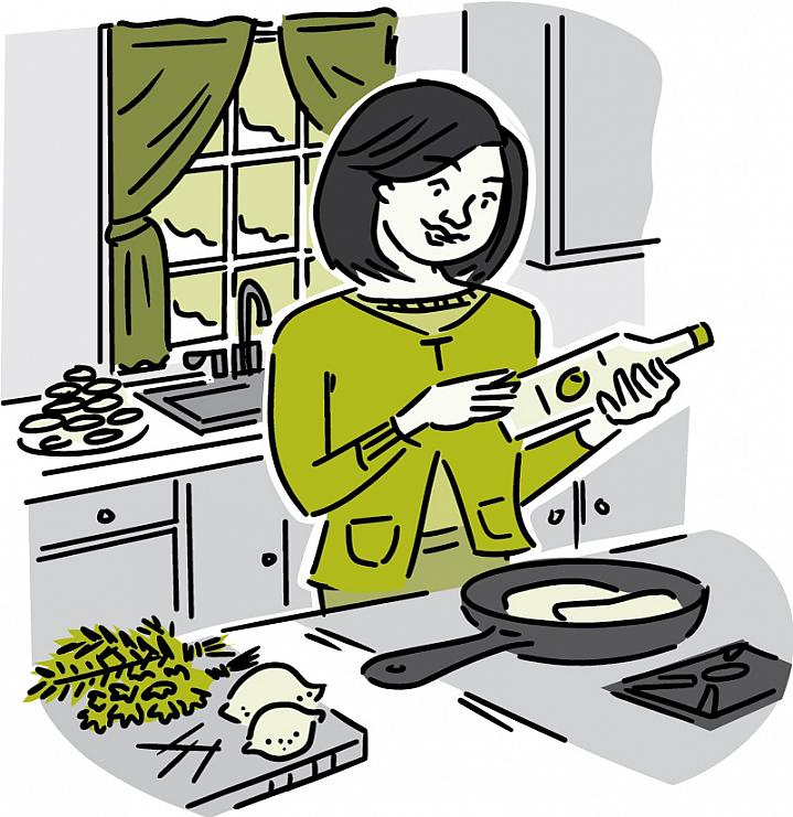 "Illustration of a woman in a kitchen using ""good"" fat or low-fat foods."