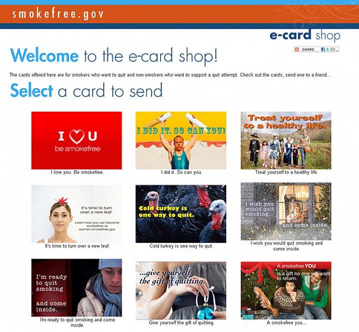 Screen capture of Smokefree E-cards website