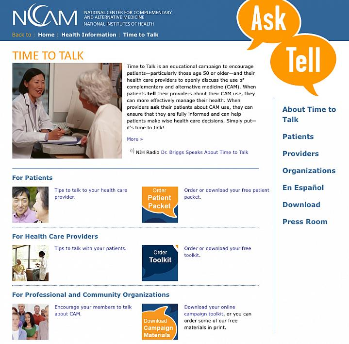 Screen capture of the NIH's Time to Talk web site.