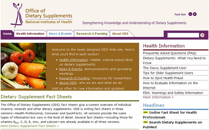Screen capture of the NIH Office of Dietary Supplements web site.