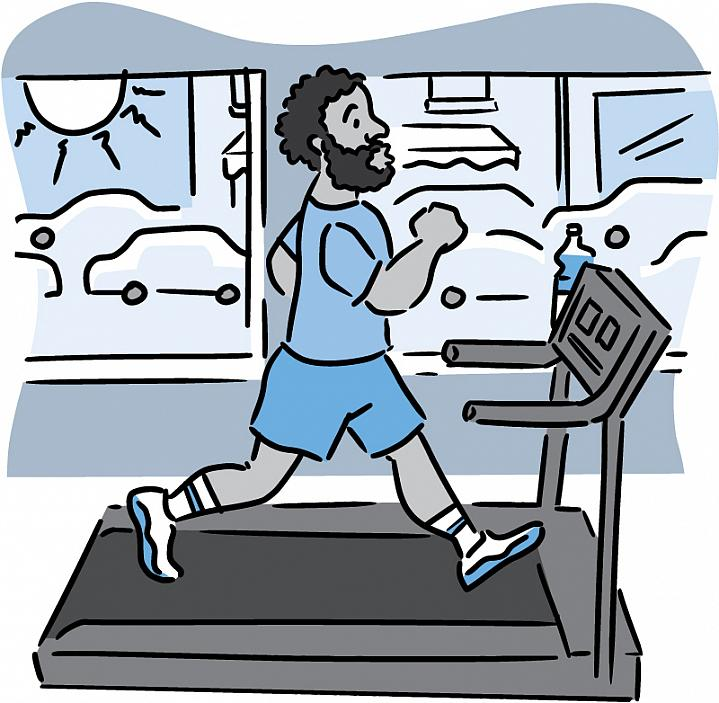 Illustration of a man running indoors on a treadmill, with traffic visible through window.