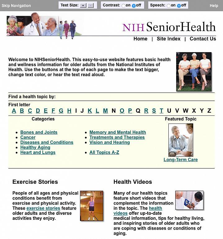 Screen capture of NIHSeniorHealth website.