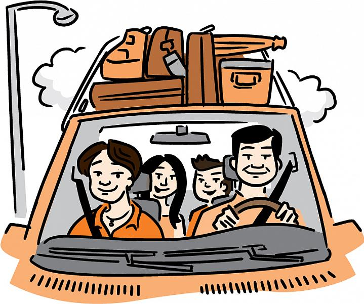 Illustration of a family traveling in a car loaded with luggage.