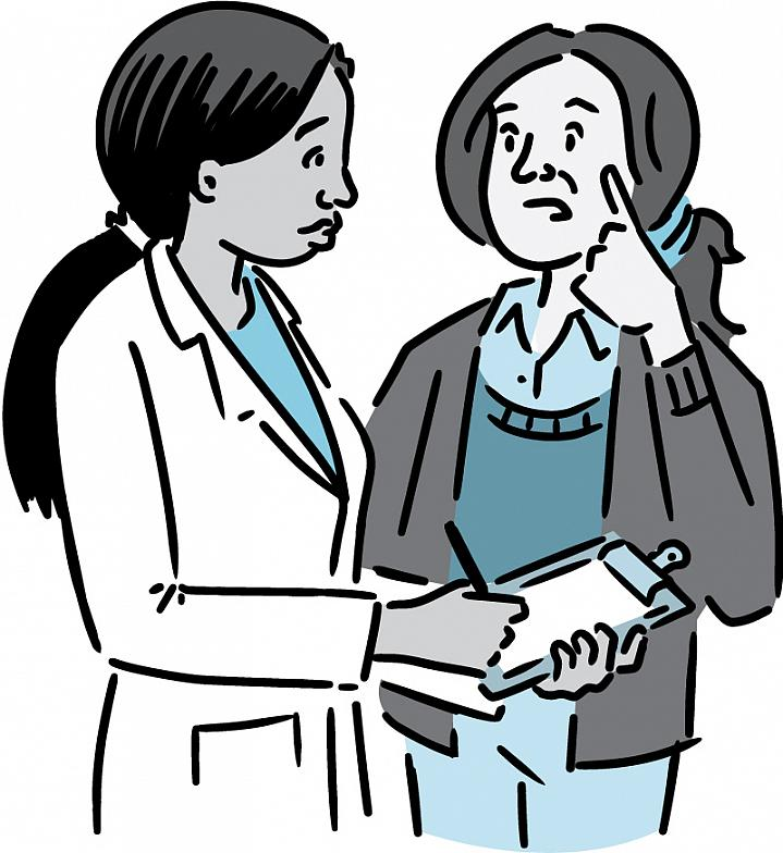 Illustration of a woman describing symptoms to her doctor.