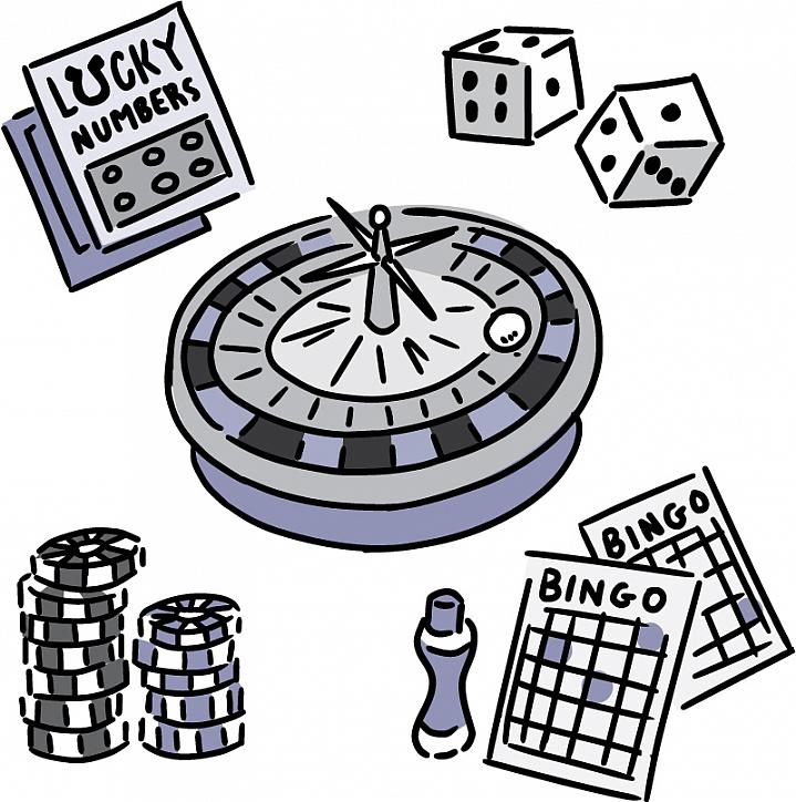 Illustration of things used in gambling, including lottery ticket, dice and chips.
