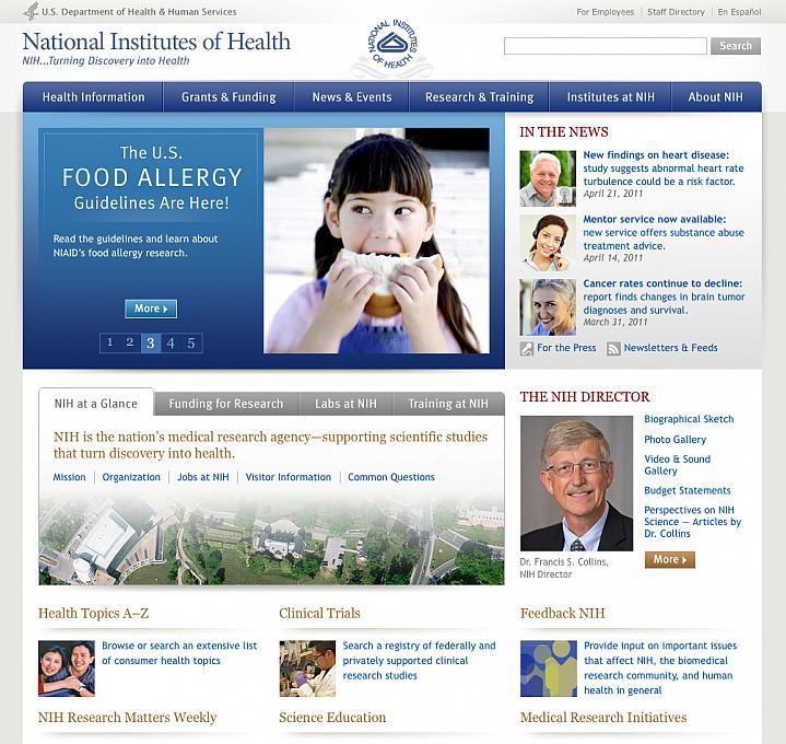 Screen capture of www.NIH.gov website.