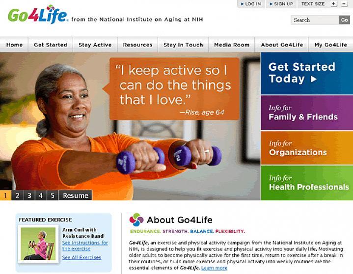 Screen capture of Go4Life website.