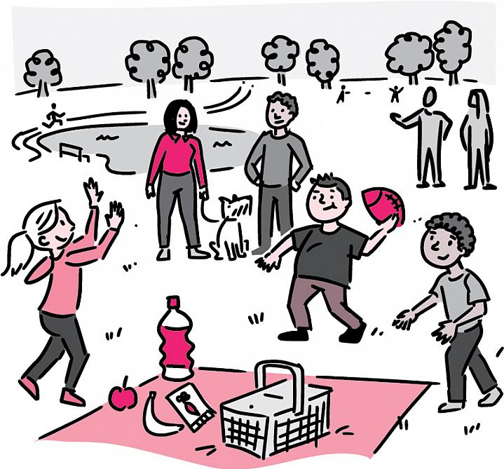 Illustration of a family picnic with healthy foods and kids at play in a park.