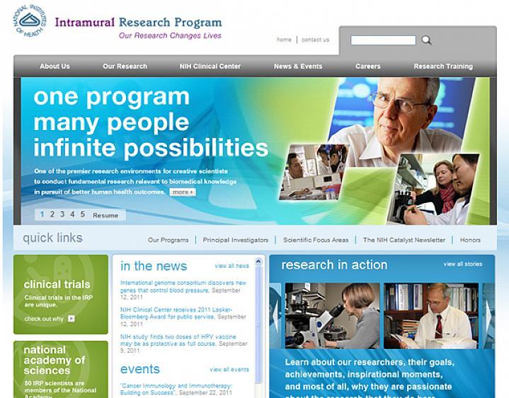 Screen capture of NIH Intramural Research Program website.