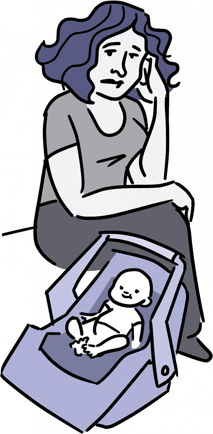 Illustration of an unhappy mom and her infant.
