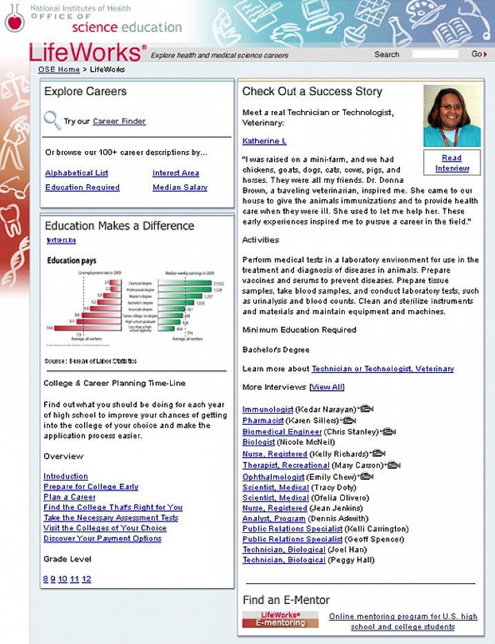 Screen capture of LifeWorks website