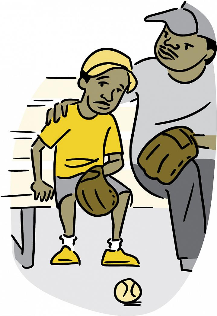 Illustration of dad comforting his tired looking son on a break from playing baseball.