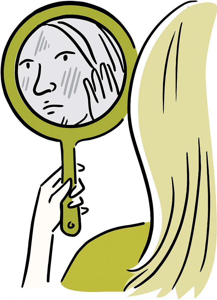 Illustration of a woman looking into a mirror and touching blotches on her face.