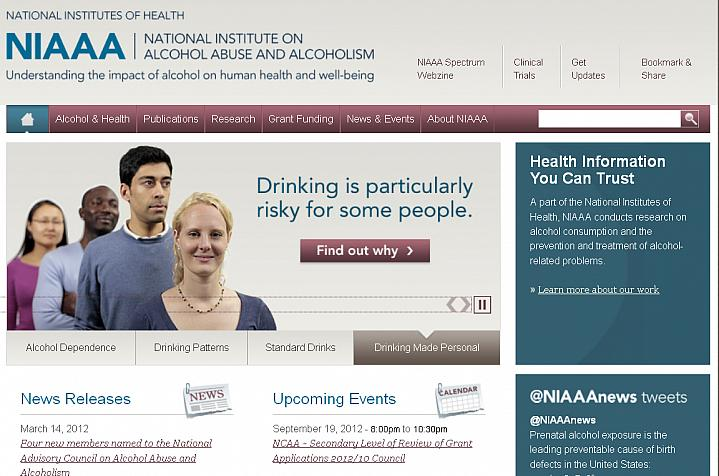 Screen capture of the homepage for NIH's NIAAA.
