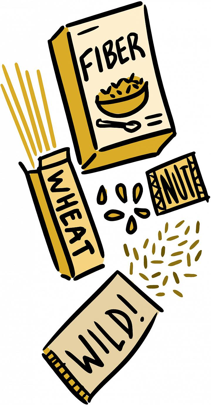 Illustration of a high-fiber cereal, wild rice, whole-wheat pasta and nuts.