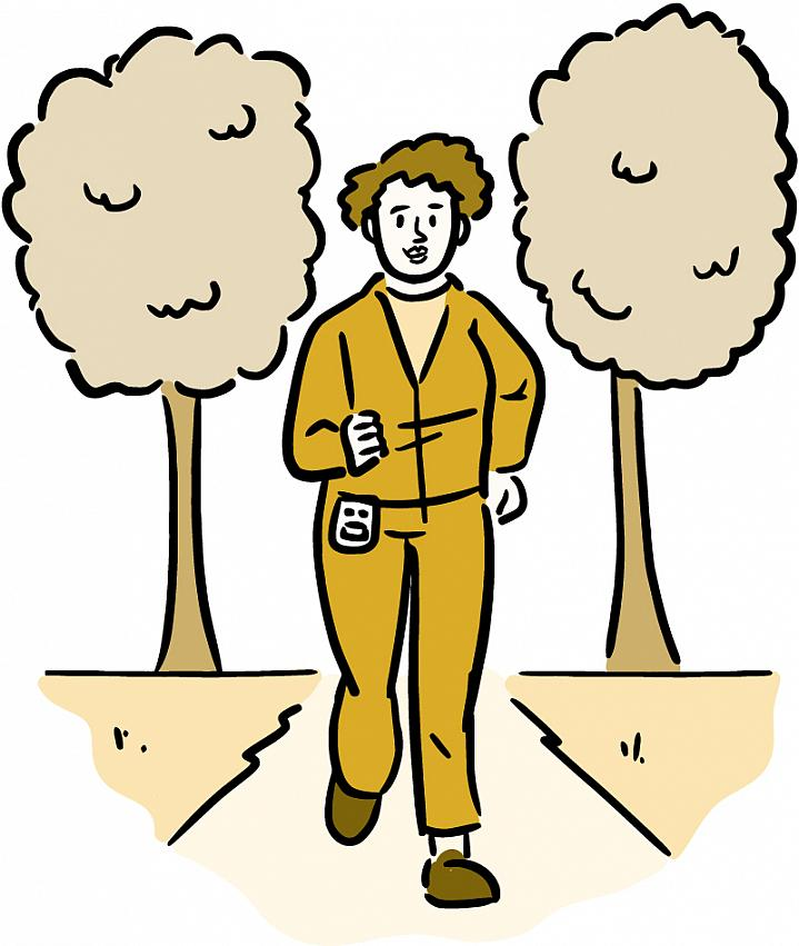 Illustration of a woman wearing a pedometer and walking along a trail.