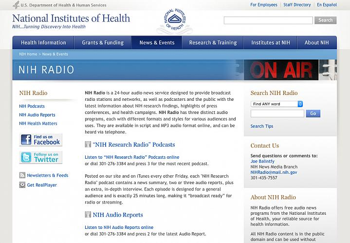 Screen capture of the homepage for NIH Radio