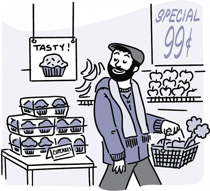 Illustration of a man bypassing cupcakes and carrying a shopping basket filled with produce.