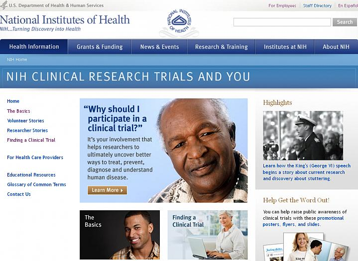 Screen capture of the homepage for NIH Clinical Research Trials and You.