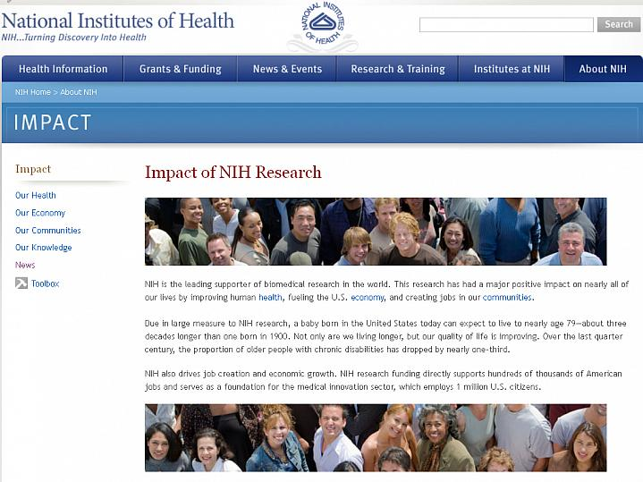 Screen capture of the homepage for Impact of NIH Research.