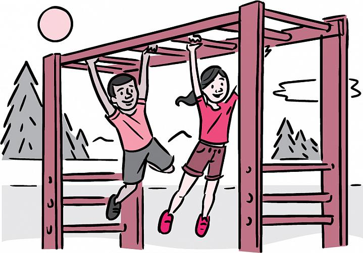 Illustration of 2 kids playing on the monkey bars.