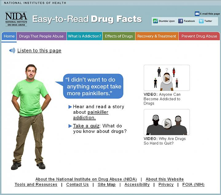 Screen capture of the homepage for Easy-to-Read Drug Facts.